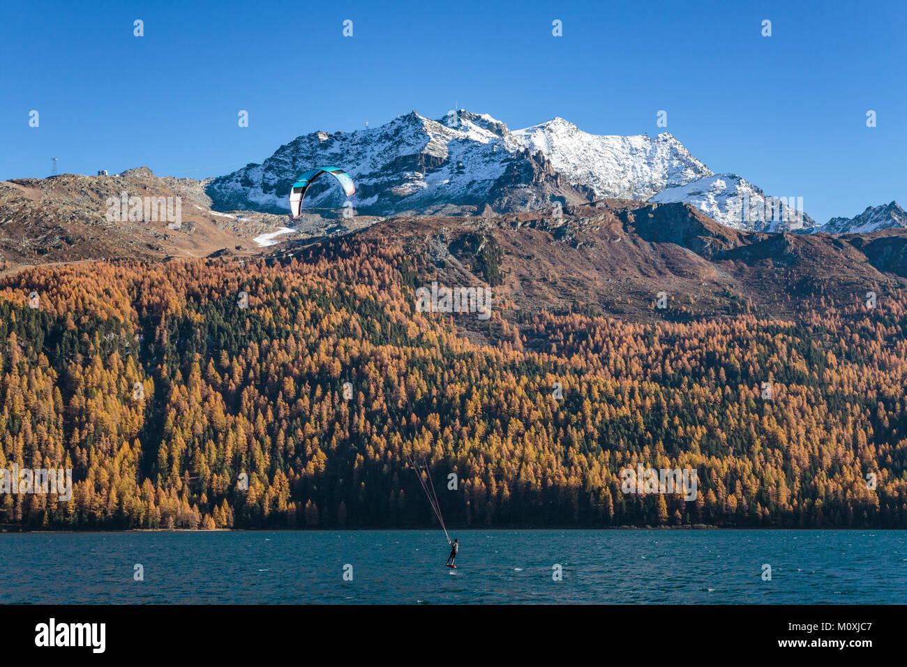 La planche à voile sur le lac de Silvaplana avec feuillage automne couleur dans les mélèzes dans Photo Stock