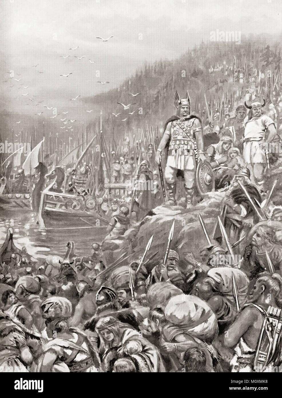 L'embarquement des Goths en 269 AD. Trois cent mille combattants engagés des rives du fleuve Tyras avec Photo Stock