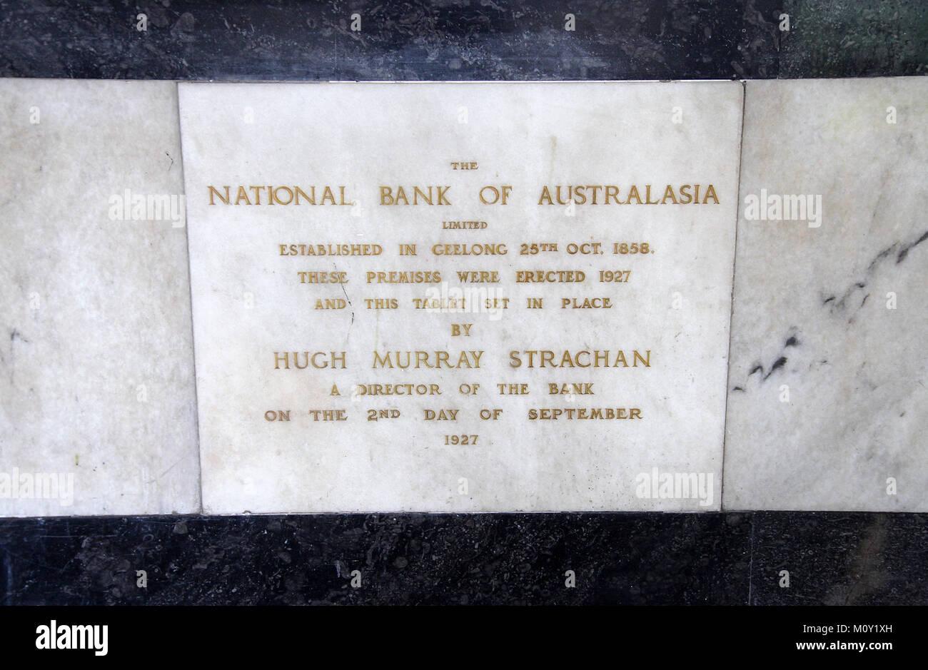 National Bank of Australasia Plaque commémorative Photo Stock