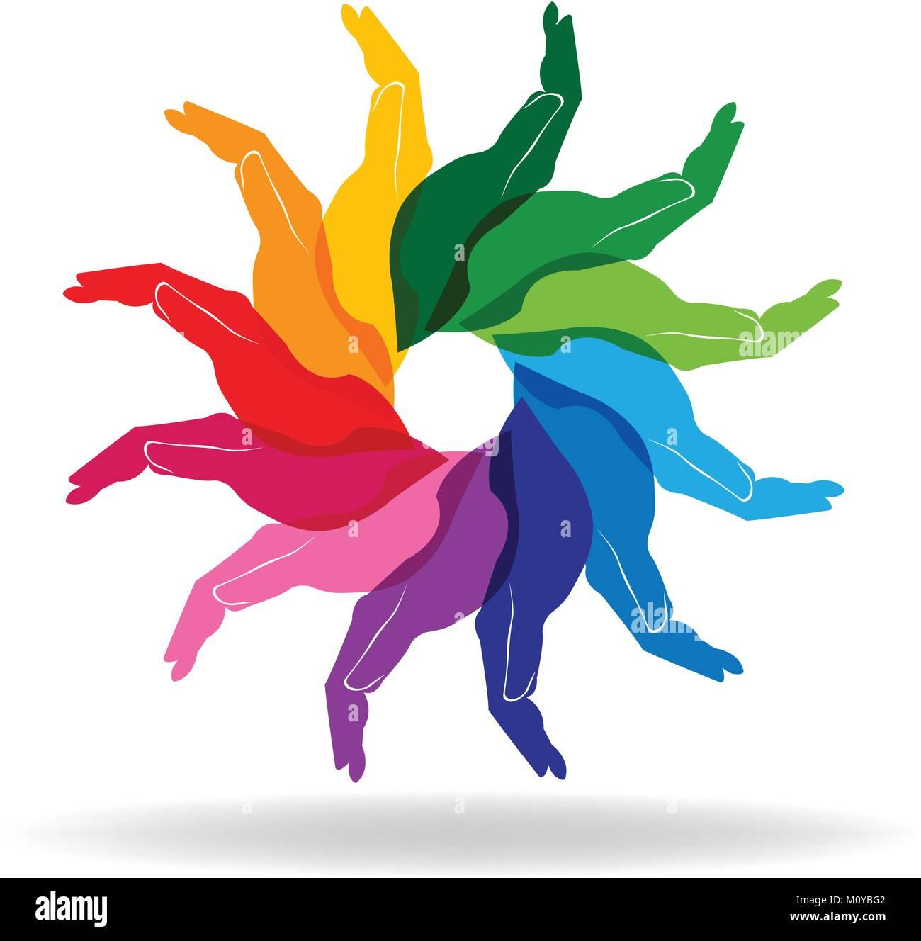 La diversité colorée mains personnes aider logo concept vector Illustration de Vecteur