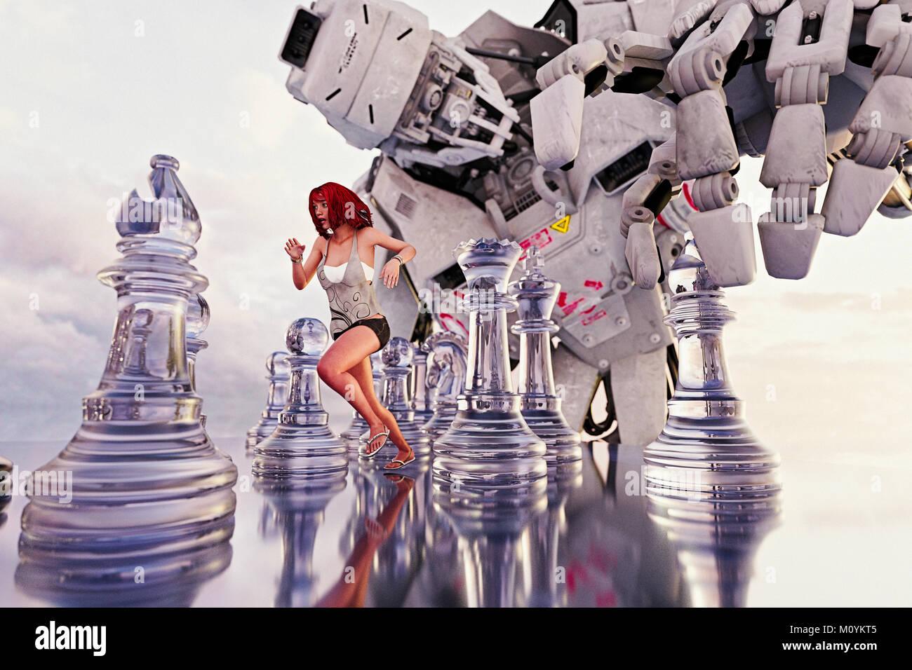 Femme en marche entre les pièces des échecs de robot géant Banque D'Images