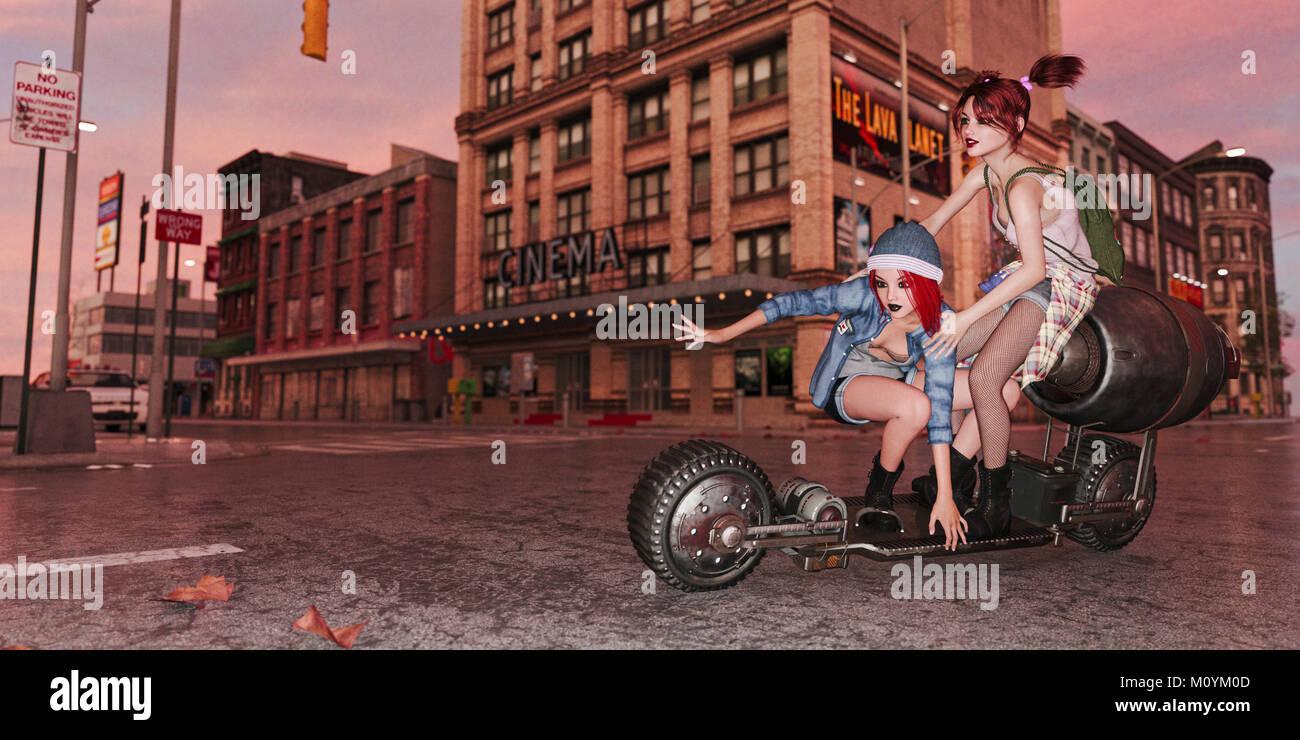 Les filles à cheval à roulettes dans ville futuriste Banque D'Images