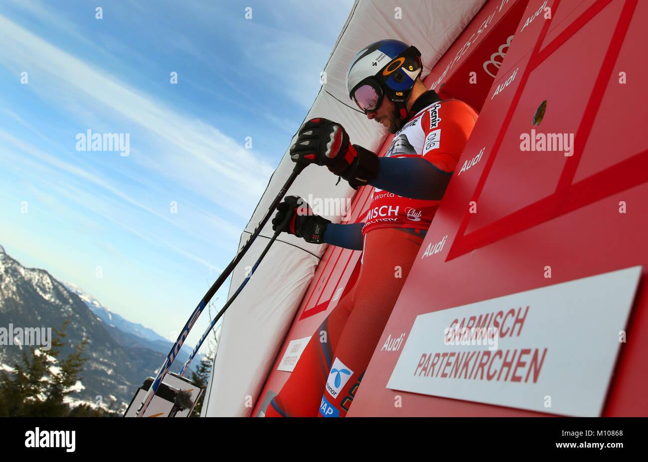 Garmisch-Partenkirchen, Allemagne. 25 Jan, 2018. Le favori, Aksel Lund Svindal à partir de la Norvège, Photo Stock
