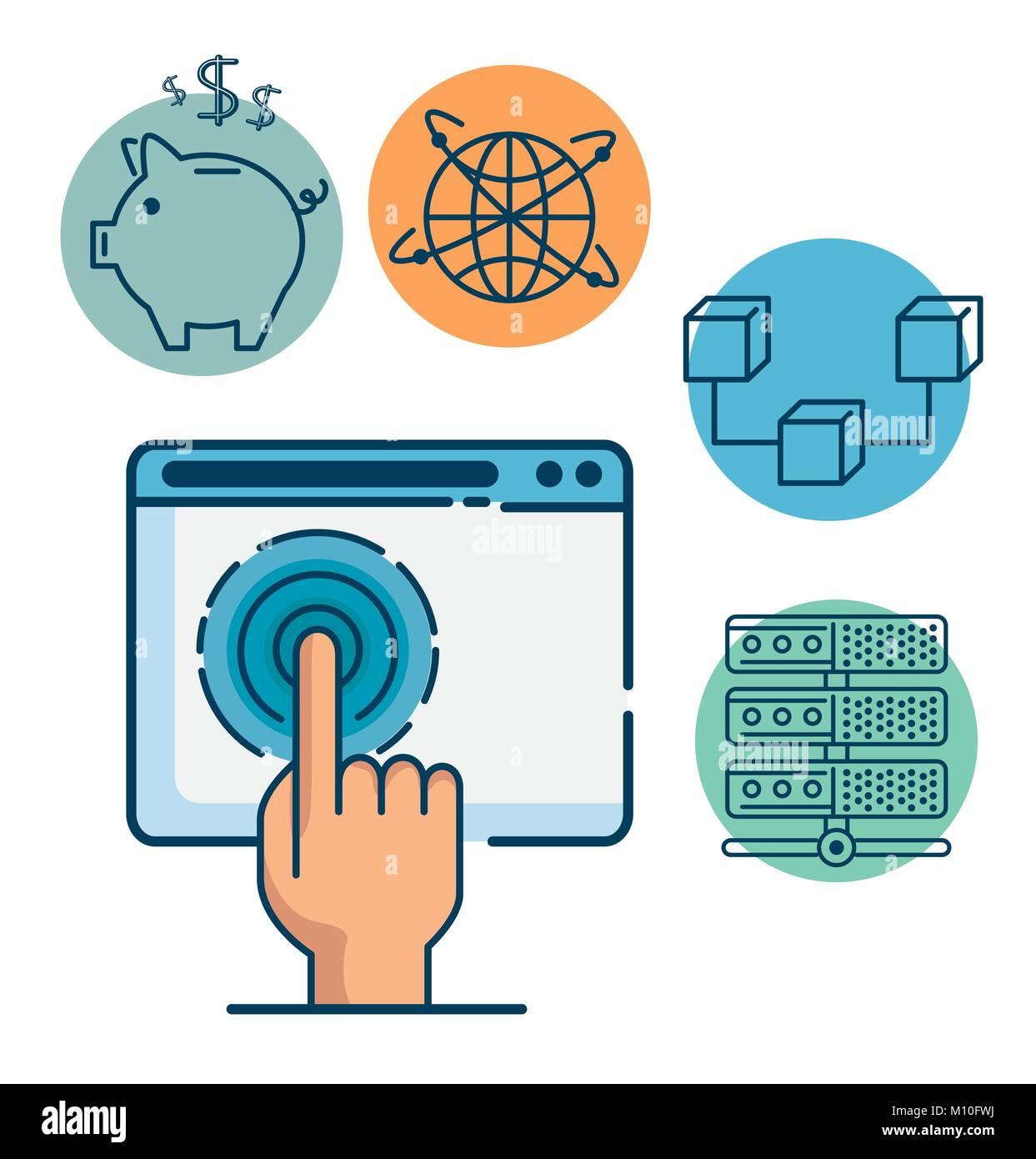 La technologie de l'Internet financier Investissement Fintech fintech Concept design graphique illustration vectorielle Illustration de Vecteur