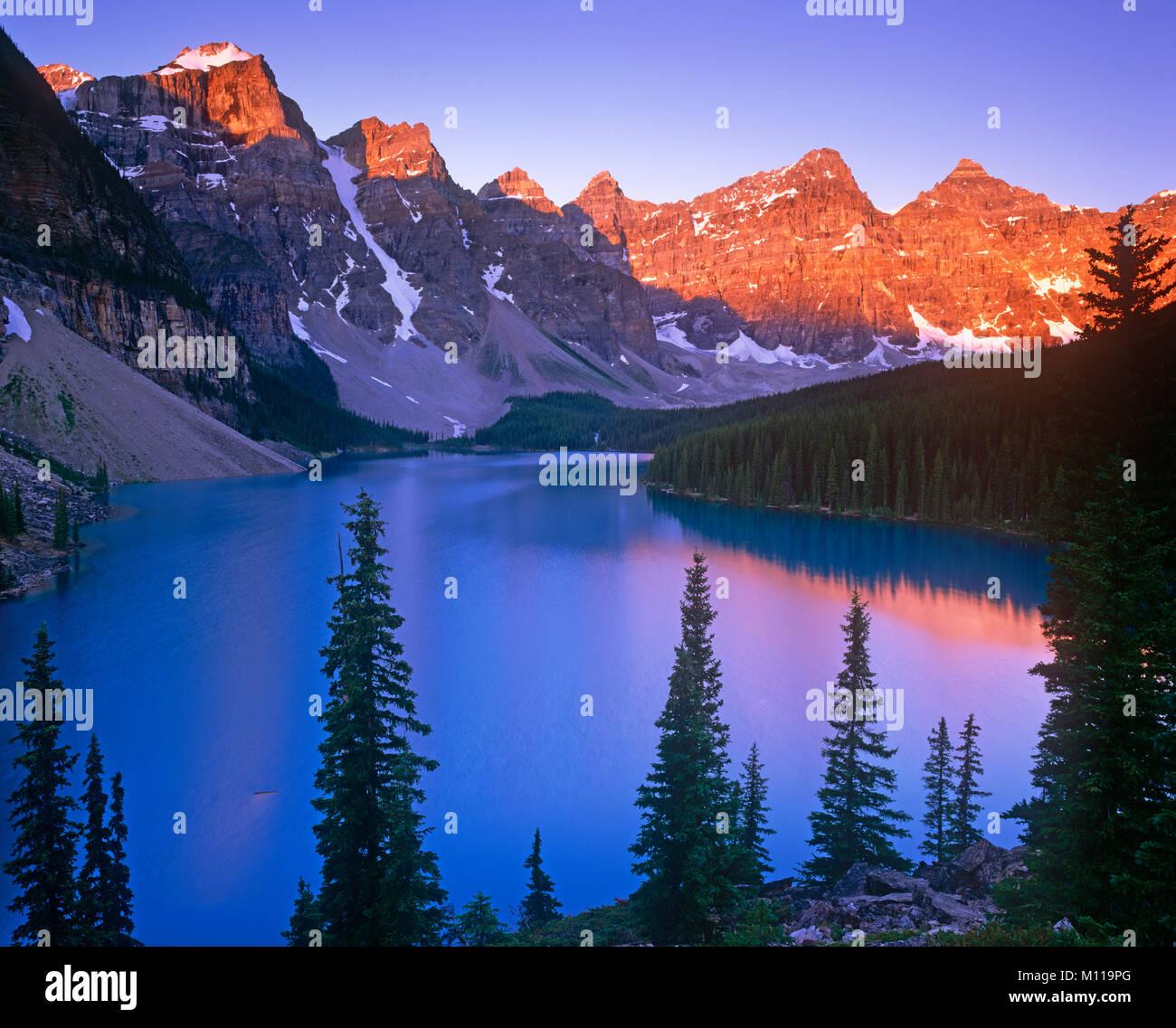 Le lac Moraine, Banff National Park, Alberta, Canada Photo Stock