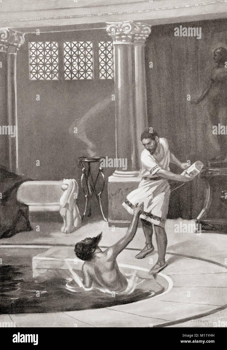 La mort de Constans II, assassiné dans son bain par son chambellan, le 15 septembre, 668MA. Constans II, 630 Photo Stock