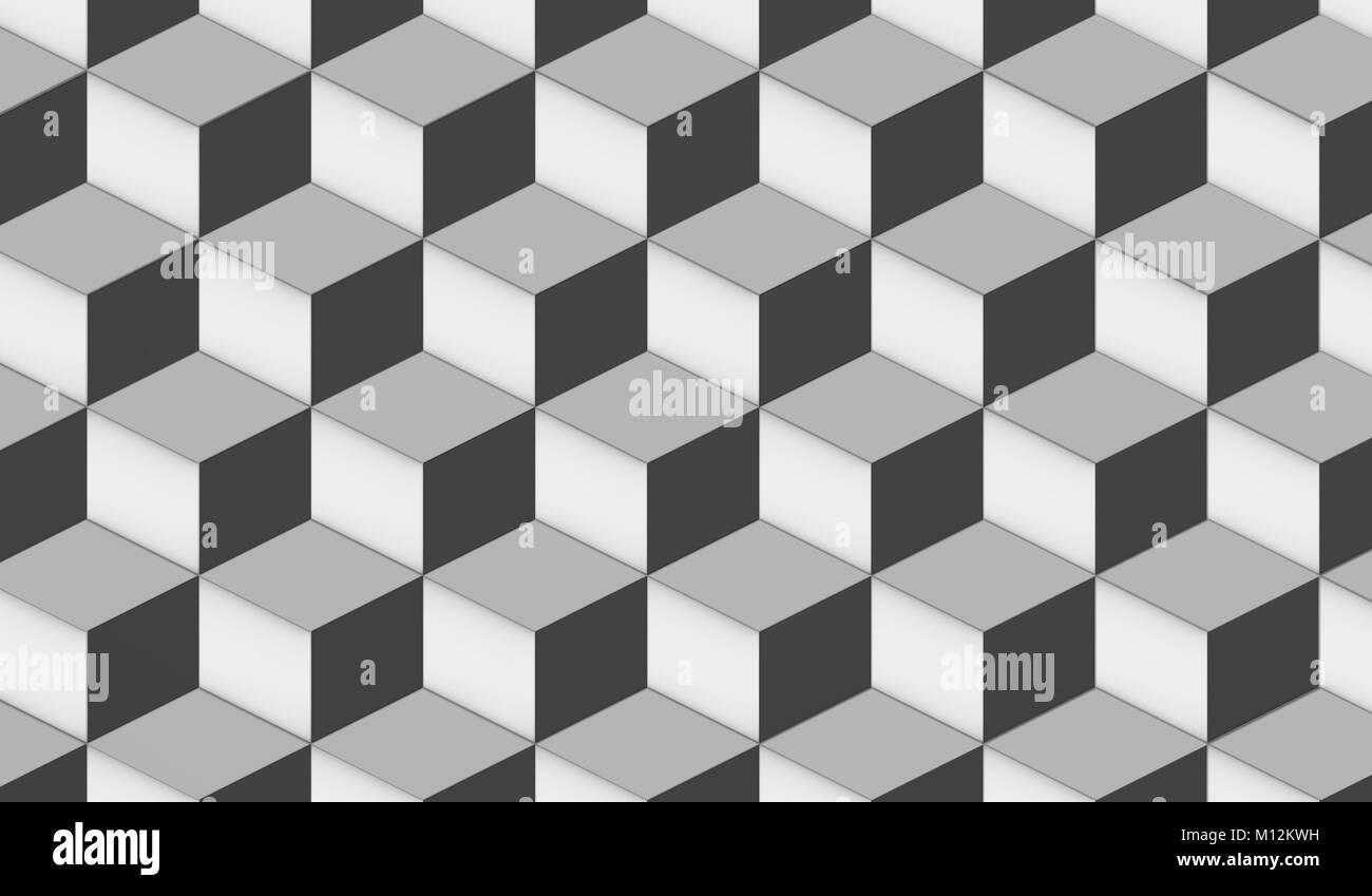 Latest Rendu D Gomtrique Fond Papier Peint Dcoratif Modle Cube Moderne En Blanc  Gris Et Noir With Papier Peint Noir Et Blanc Geometrique