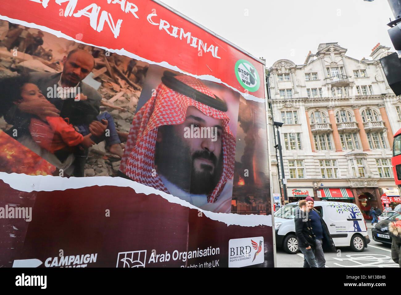 London UK.26 janvier 2018. Un van publicité commanditée par l'arrêt de la guerre et de l'Organisation arabe pour les droits de l'homme au Royaume-Uni contre la visite en Grande-Bretagne du Prince Mohammad bin Salman Al Saud héritier au trône saoudien en raison de la violation des droits de l'homme cités par Amnesty International contre l'Arabie saoudite dans son intervention dans la guerre civile au Yémen: Crédit amer ghazzal/Alamy Live News Banque D'Images