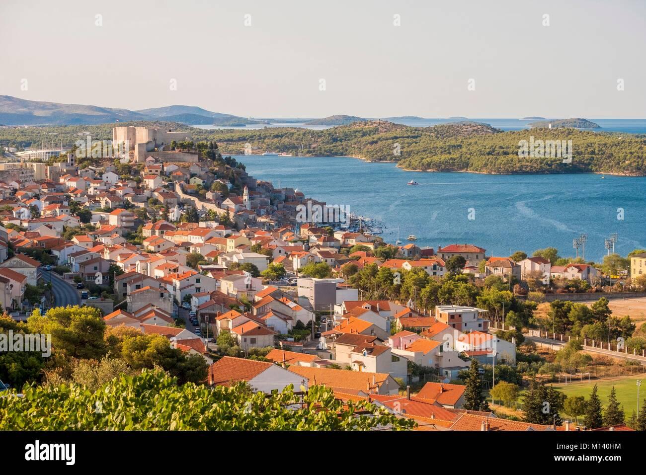 La Croatie, Dalmatie du nord, côte dalmate, Sibenik, Saint Michael's fortress Photo Stock