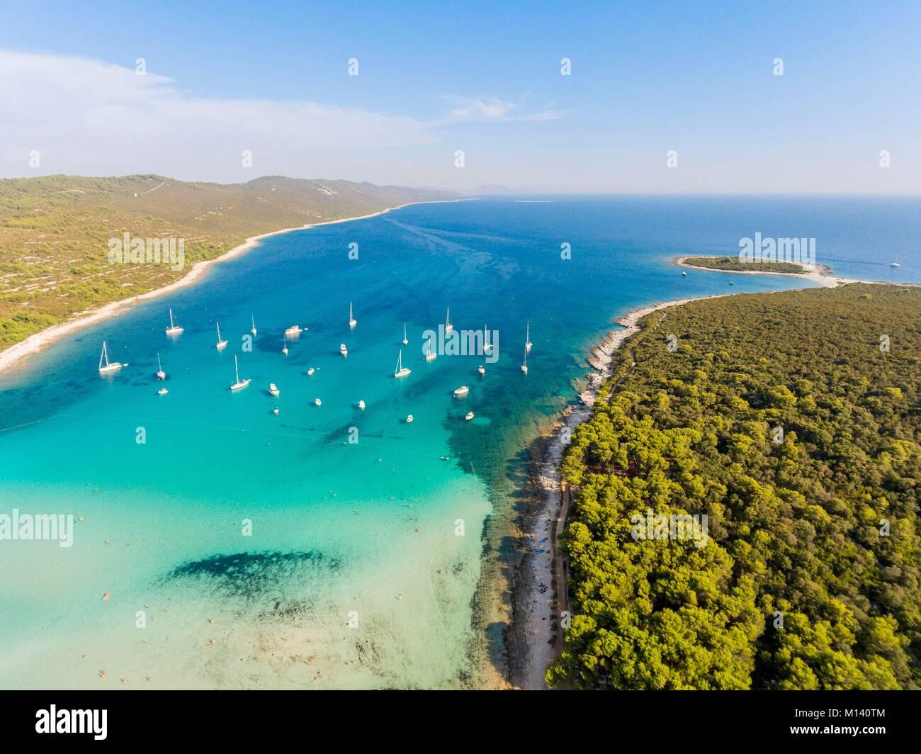 La Croatie, Dalmatie du Nord, de la côte dalmate, archipel de Zadar, l'île de Dugi Otok, Sakarun beach Photo Stock