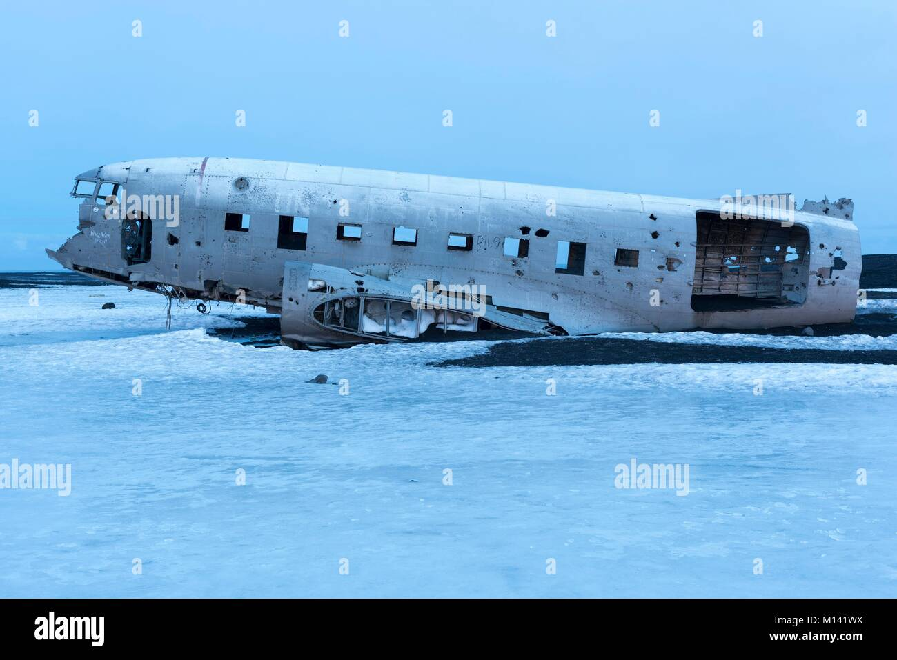 Islande, Sudurland, Solheimasandur èpave, d'un avion US Air Force Douglas R4D8 (super DC3) Photo Stock