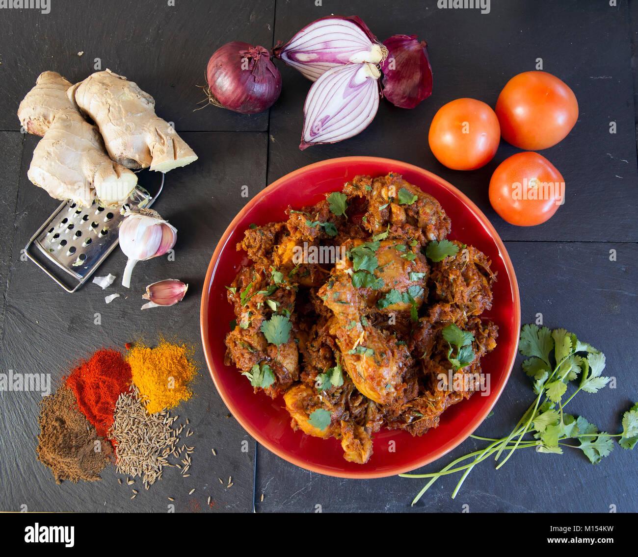 La photographie culinaire: mein Daag Poulet murgh recette, Photo Stock