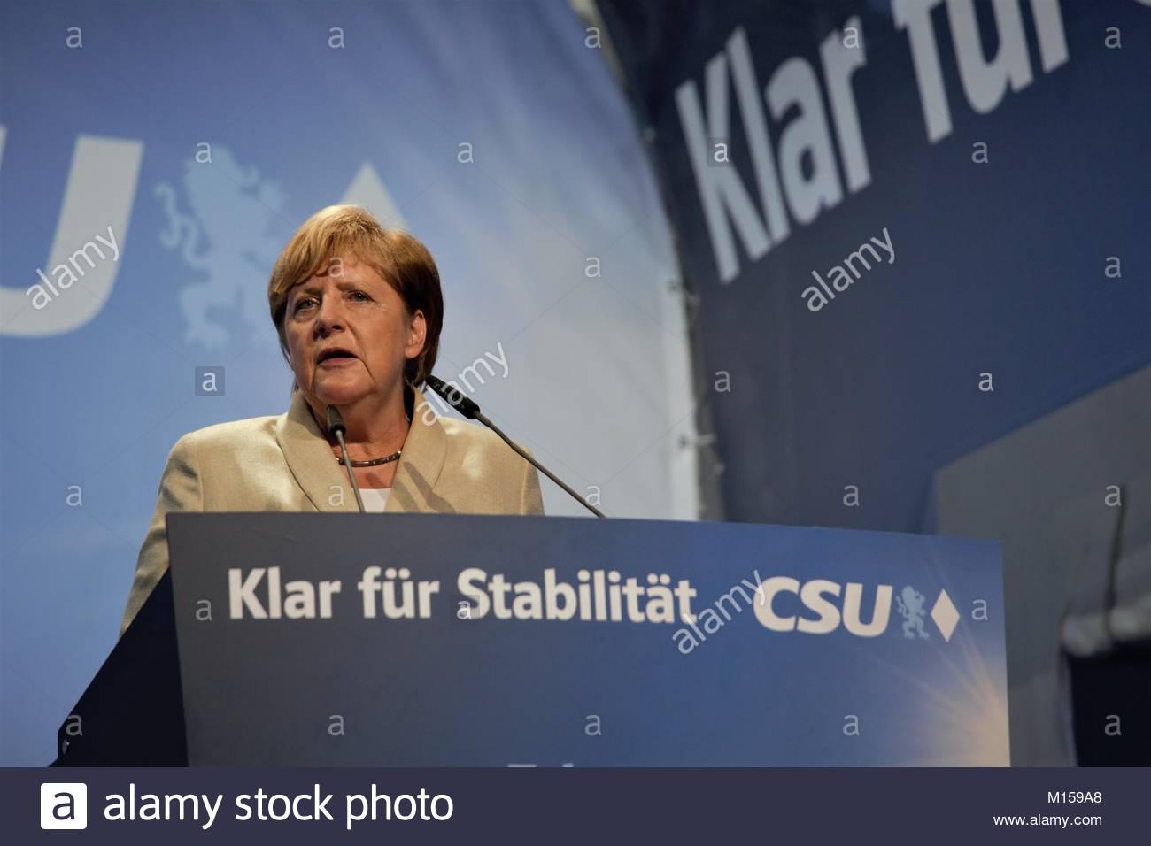Erlangen Allemagne, le 30 août 2017. Angela Merkel la parole lors d'un événement en Allemagne Photo Stock