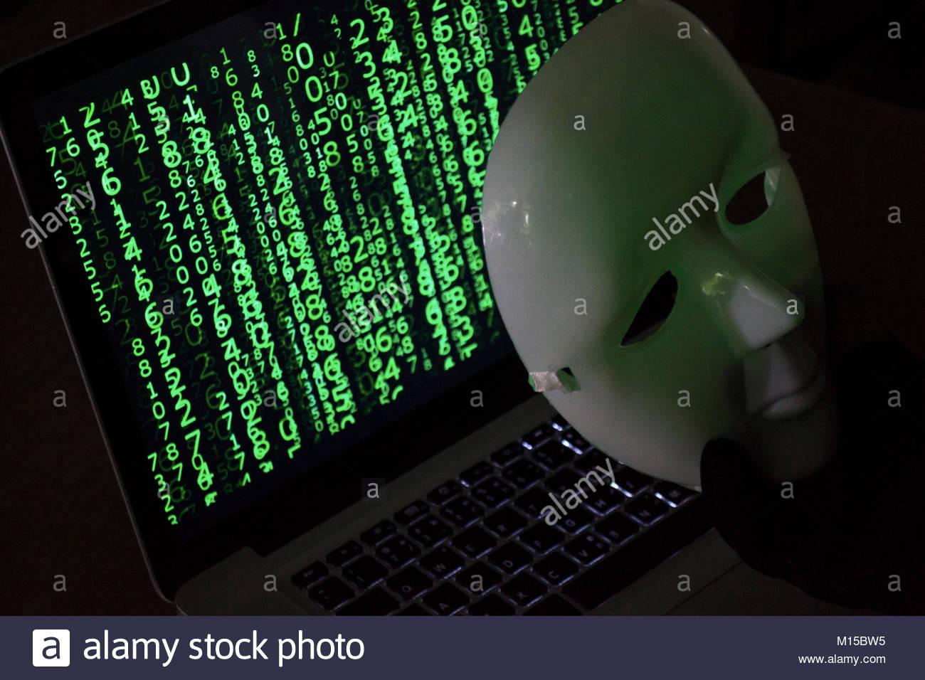 Le piratage du système de paiements. Paiement Cartes de crédit en ligne Concept de sécurité. Photo Stock