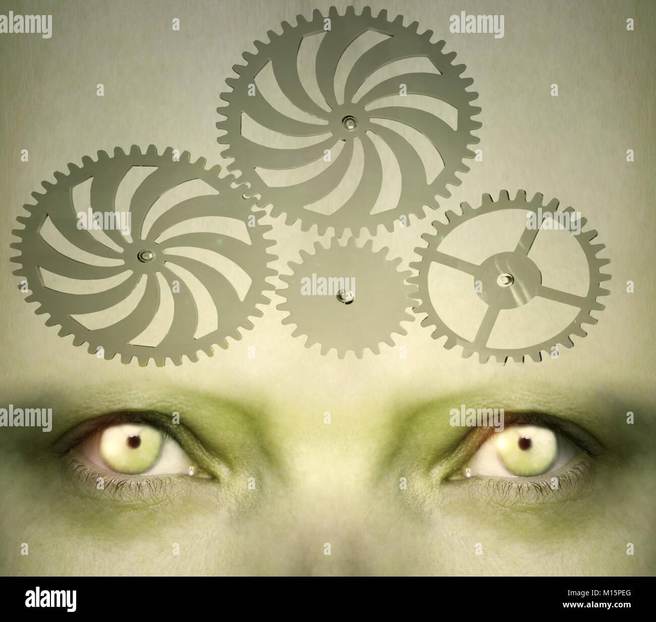 Des yeux humains avec l'engrenage sur le front qui représente un concept abstrait de la complexité Photo Stock