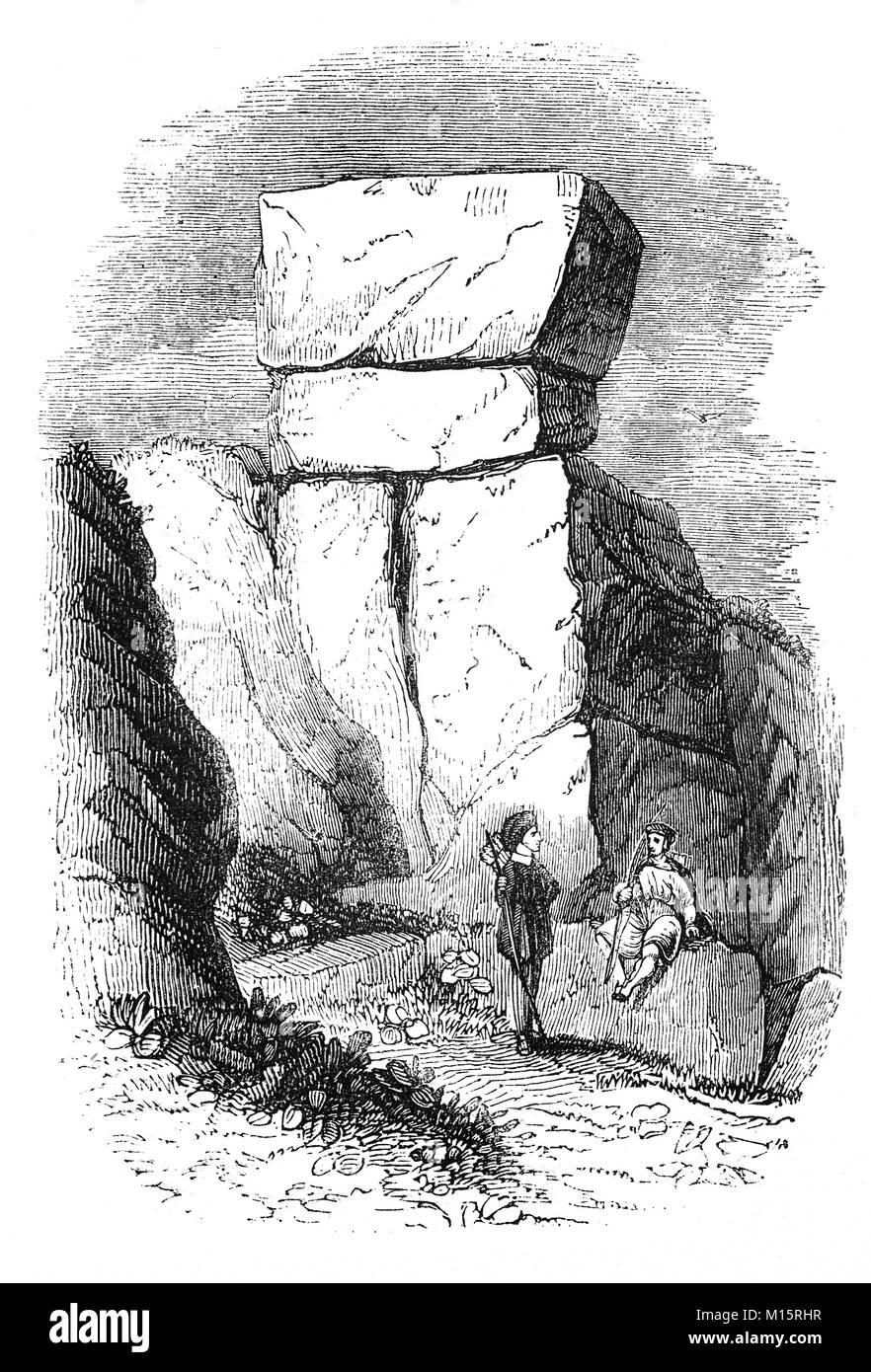 Robin Hood's Stride, tor spectaculaire de roches pierre meulière perché sur une arête entre Harthill Photo Stock