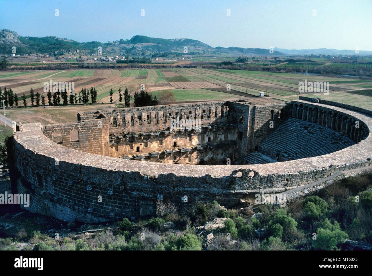 Le Théâtre Romain (c2e) à Aspendos, construit par l'architecte grec Zenon en 155 AD, Antalya, Photo Stock