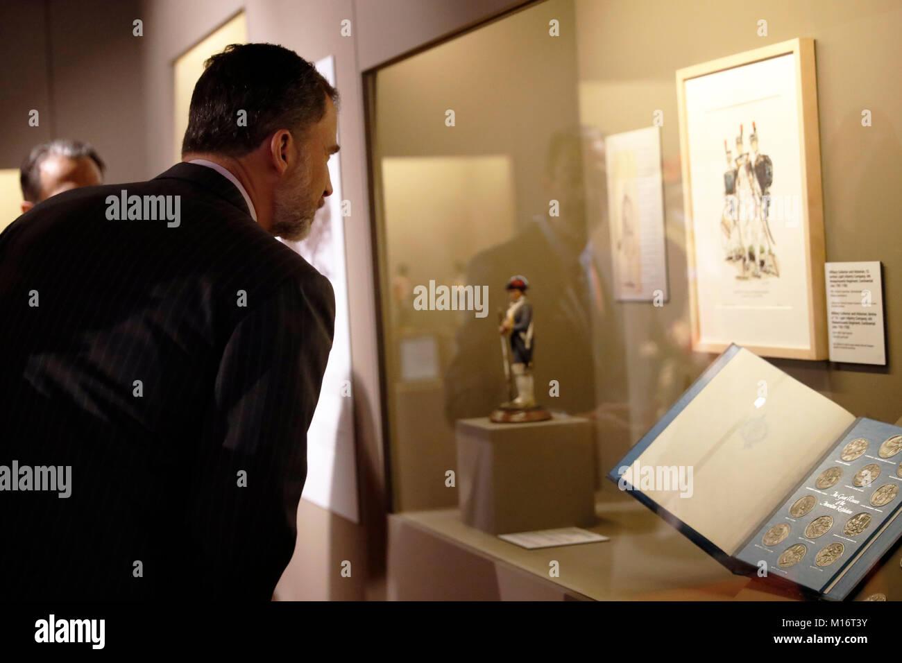 Roi d'Espagne Felipe VI Visites exhibicion ' La memoria recobrada. Revêtement en la historia de Etats Photo Stock