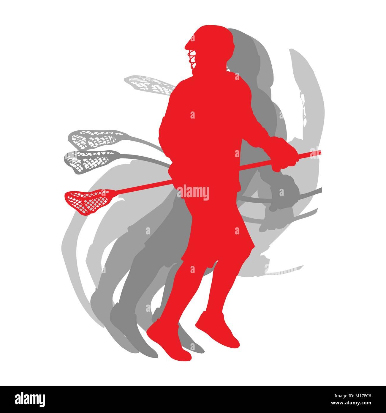 Silhouette sport Lacrosse player en concept rouge isolé sur fond blanc vector Illustration de Vecteur