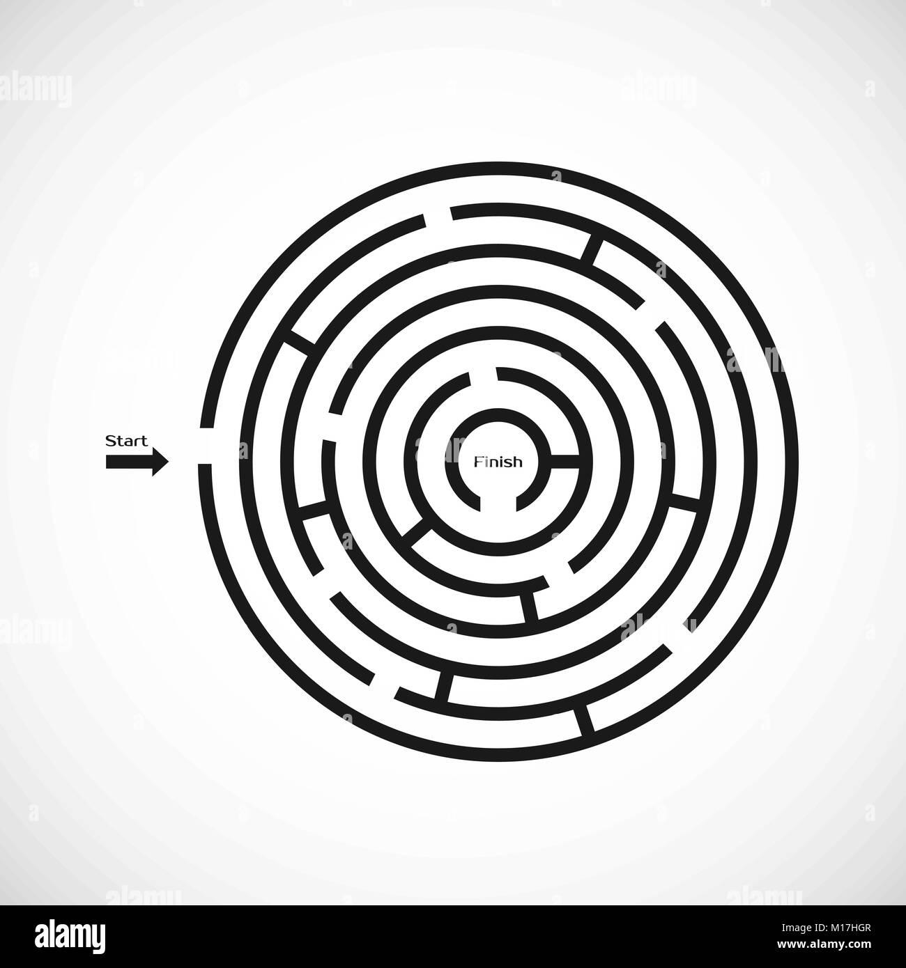 Labyrinthe Labyrinthe Résumé icône. Conception de forme de labyrinthe circulaire élément. Vector illustration isolé Illustration de Vecteur