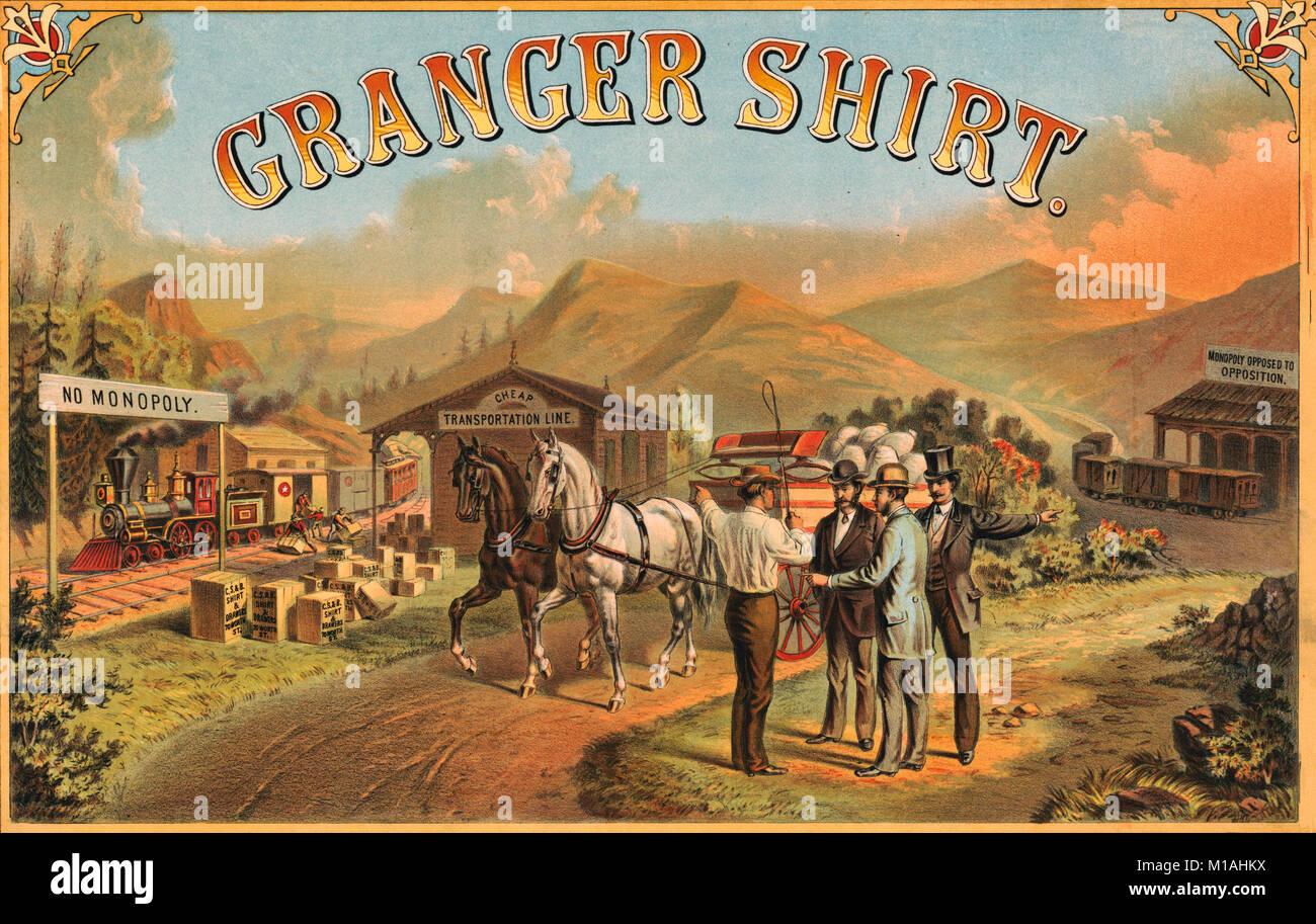 """Granger shirt - Imprimer montre un chemin de fer sur la gauche la mention """"pas de monopole' déchargement Photo Stock"""