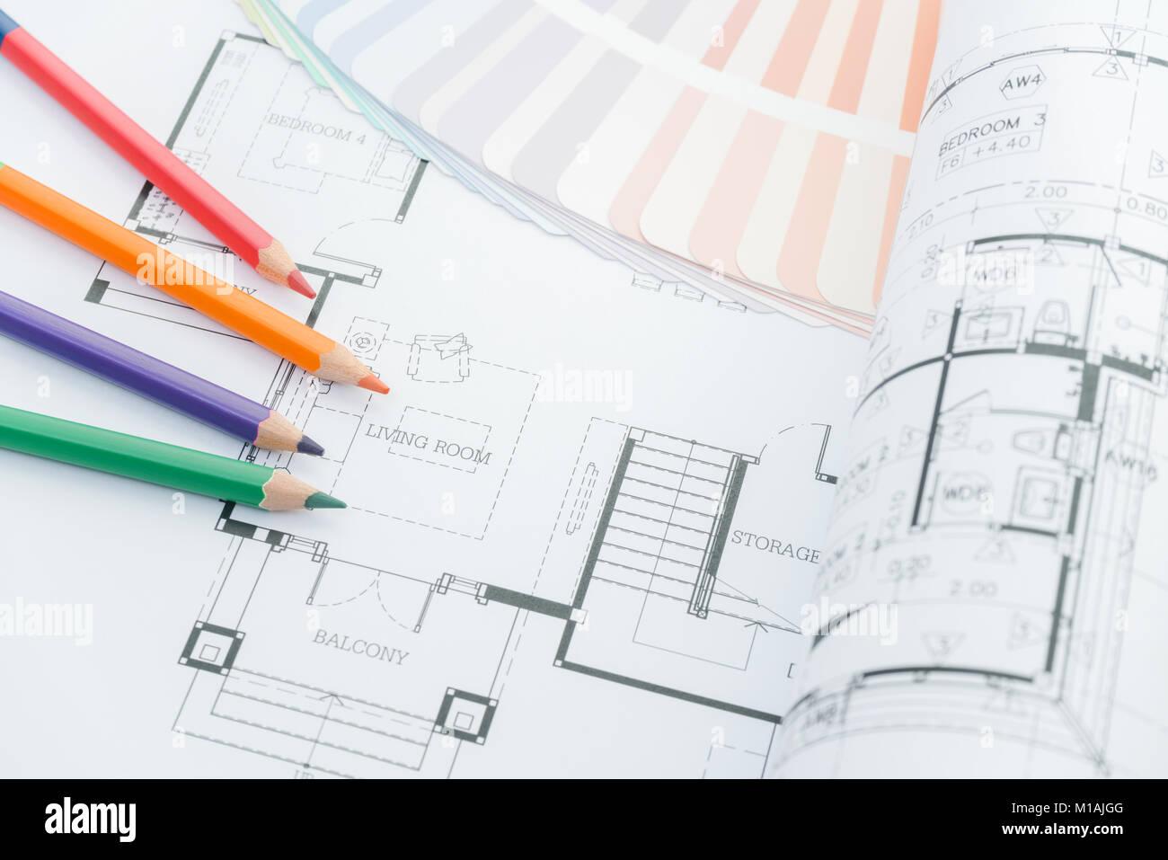 Architectes de travail - dessins d\'architecture de la maison moderne ...