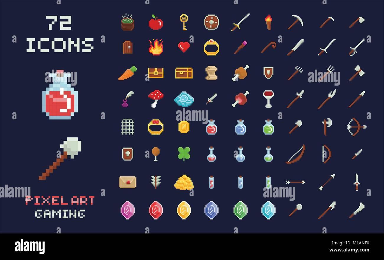 Pixel Art Jeu Vecteur Dicône Du Design De Linterface De