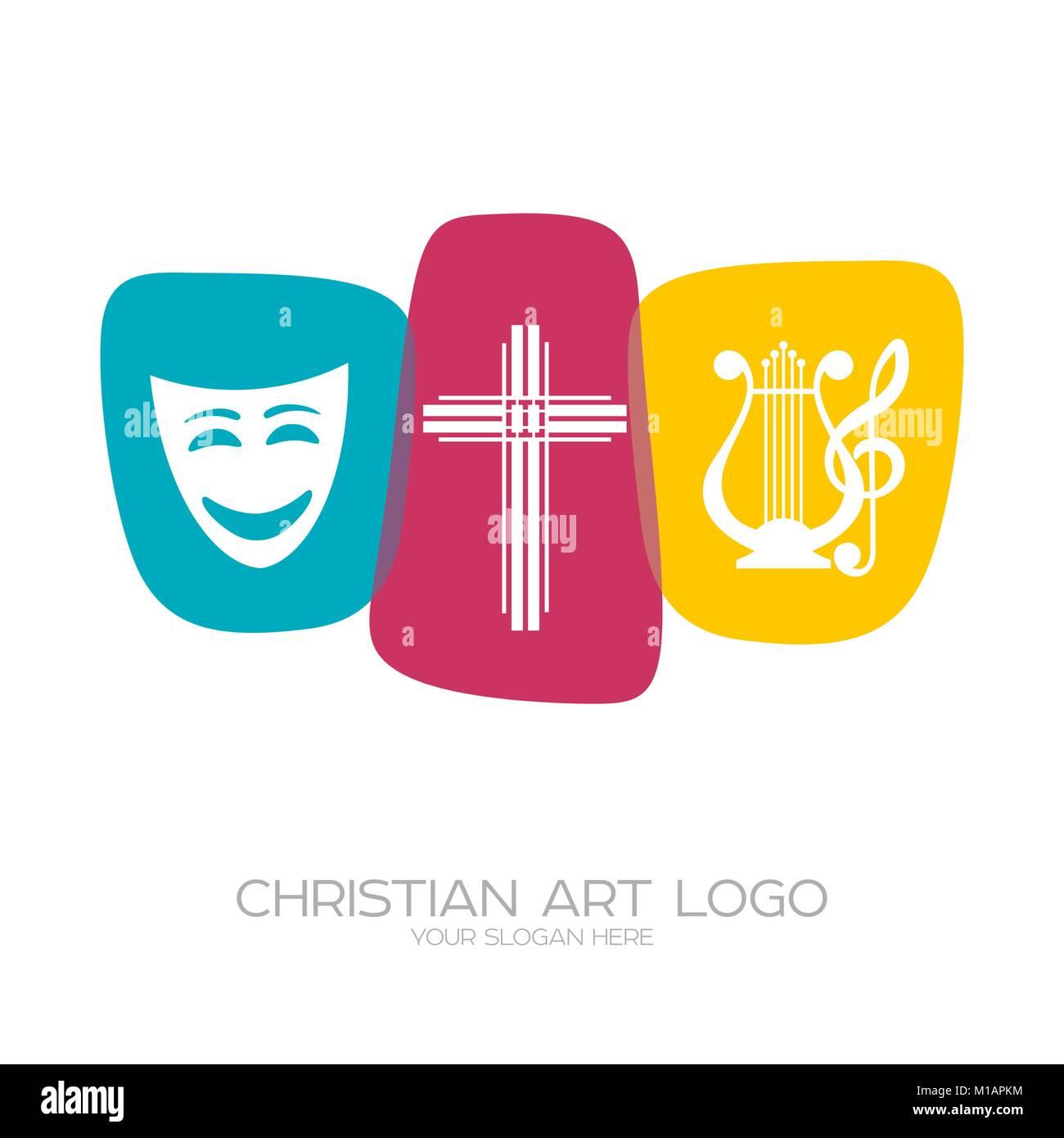 Logo de l'équipe de création théâtrale de la scène chrétienne productions, poèmes, comédies musicales Illustration de Vecteur