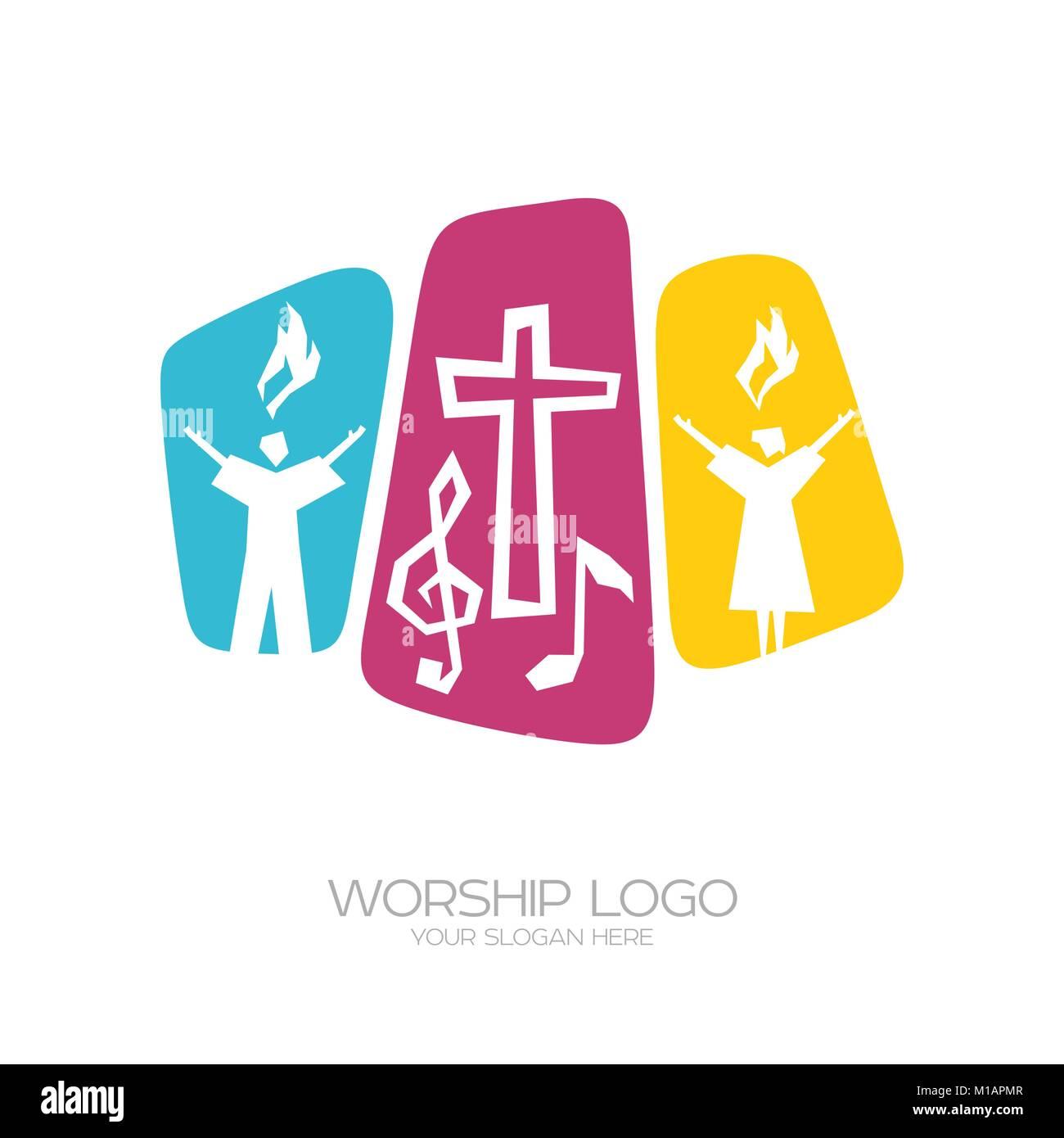Culte du Seigneur Jésus Christ et la performance de la chanson de glorification de Dieu Illustration de Vecteur