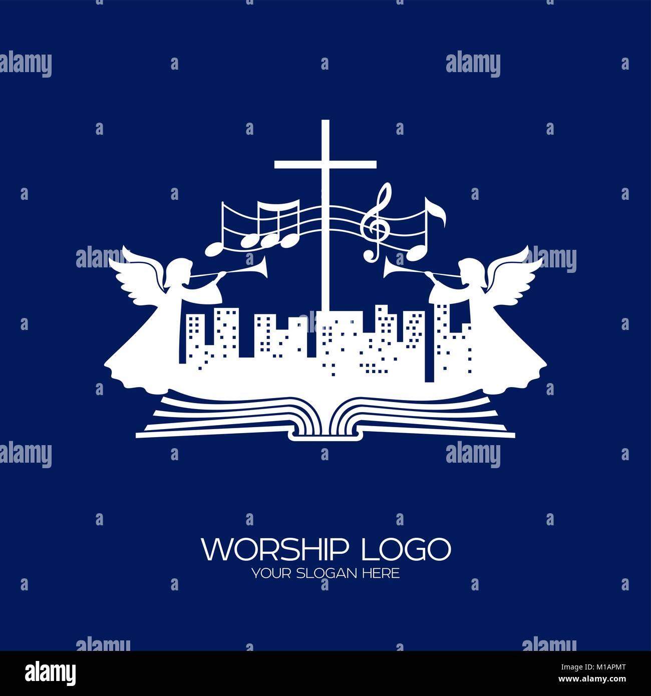 Logo de la musique. Symboles chrétiens. Les gens de toutes les nations et nationalités de chanter une chanson d'adoration de Dieu. Illustration de Vecteur