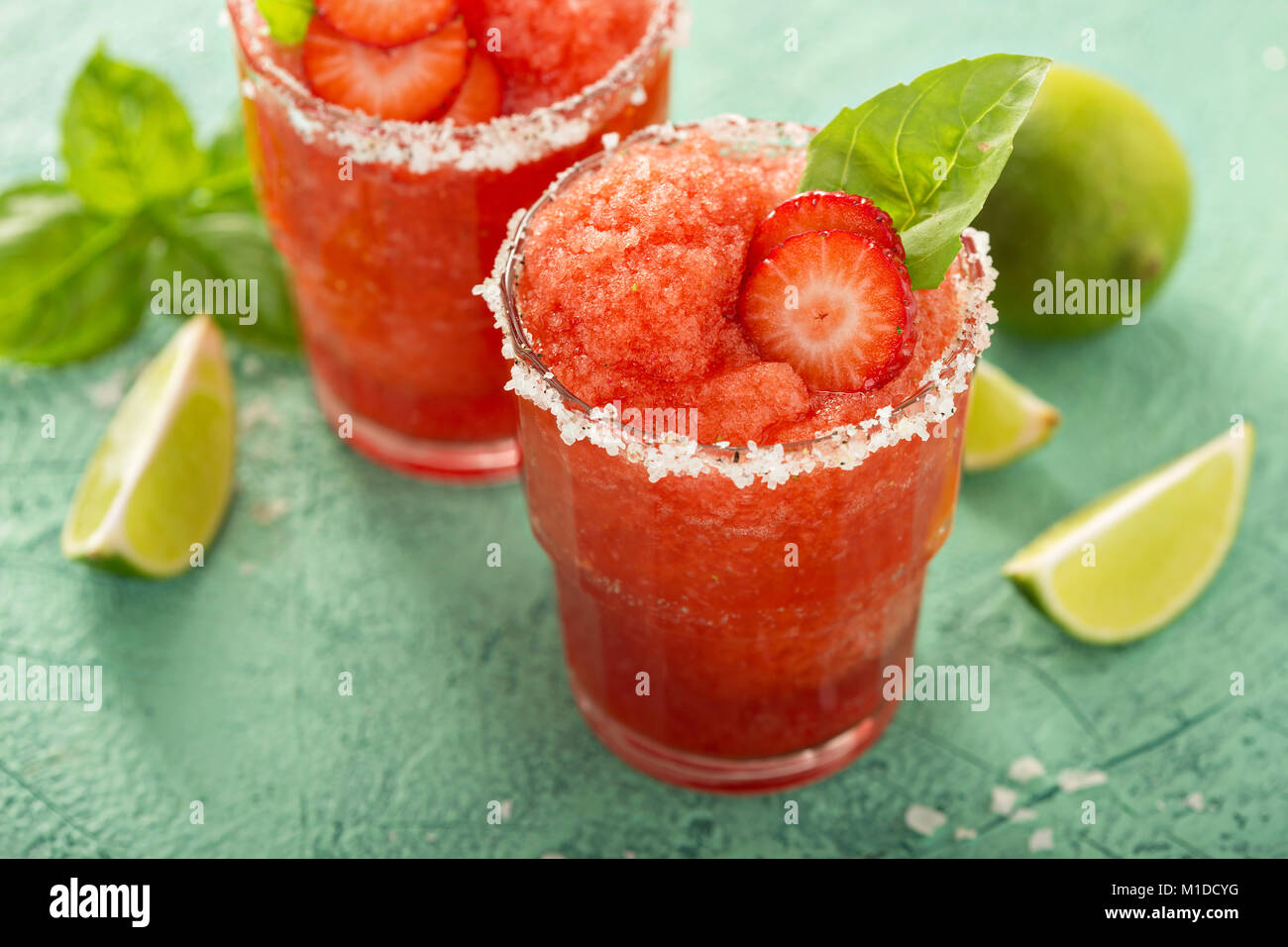 Frozen strawberry margarita lime Photo Stock