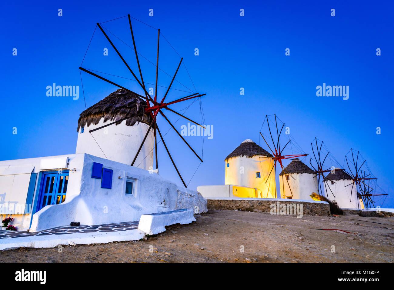 Mykonos, Grèce. Kato Mili sont célèbre moulin de l'île grecque de l'îles des Cyclades, Photo Stock
