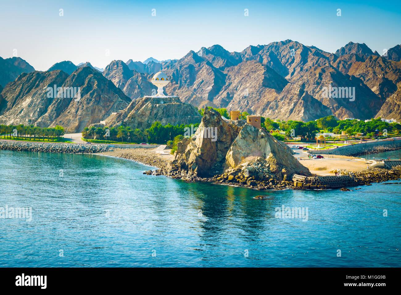 Muscat, Oman. Paysage de montagne. Photo Stock