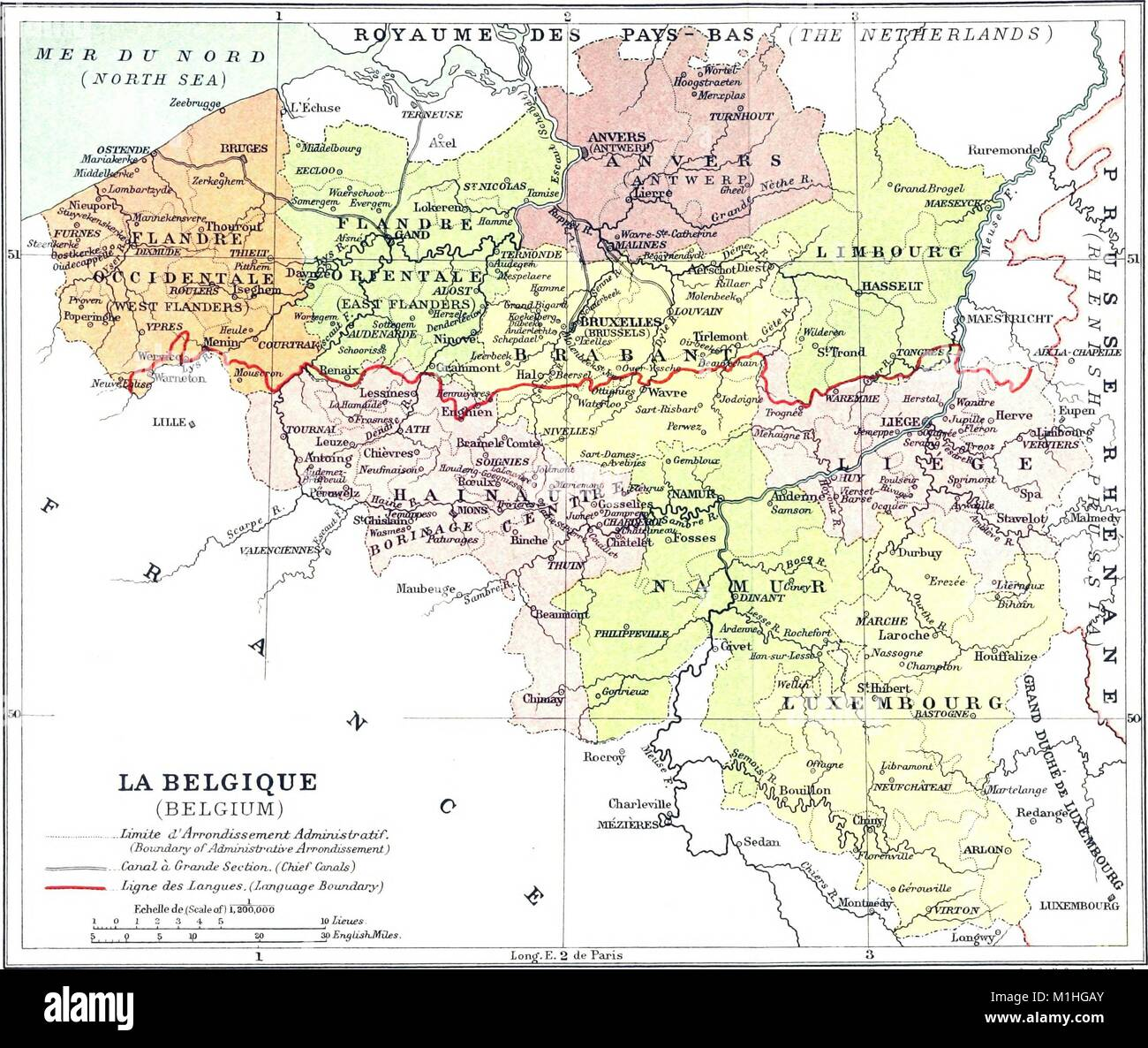 Carte Belgique Canaux.Carte Politique De La Belgique En Couleur Avec Une Echelle