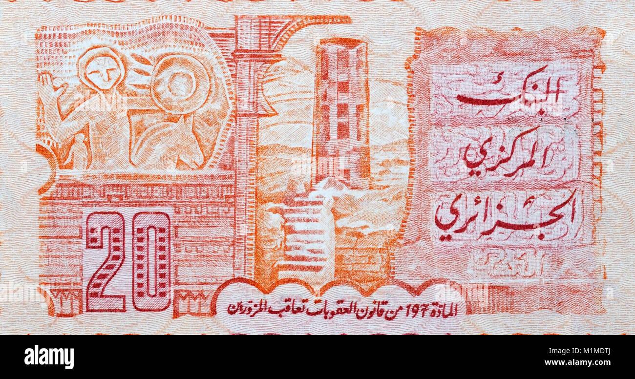 Algérie vingt billets de banque de 20 dinars Photo Stock