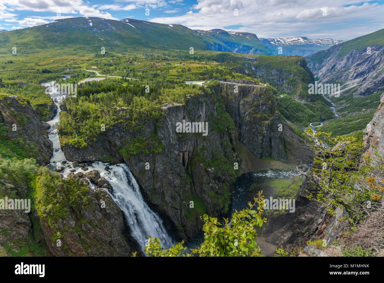 Voringfossen Cascade et le canyon de Mabodalen, Norvège, Scandinavie, également Voringsfossen, panorama Photo Stock