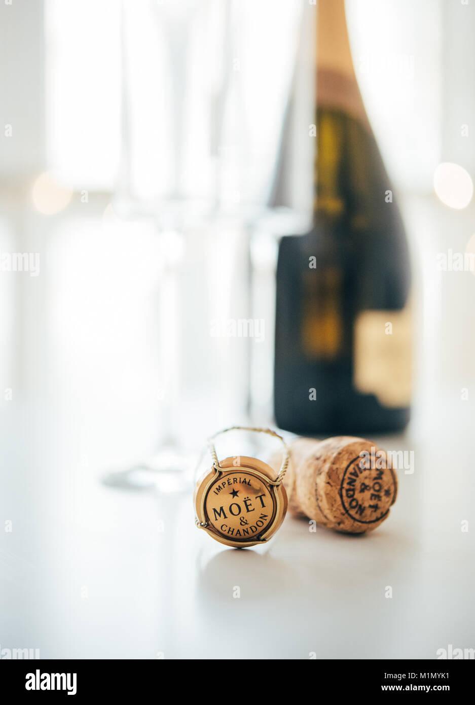 ODESSA, Ukraine - 30 janvier 2018: bouchon de champagne Moët & Chandon Photo Stock
