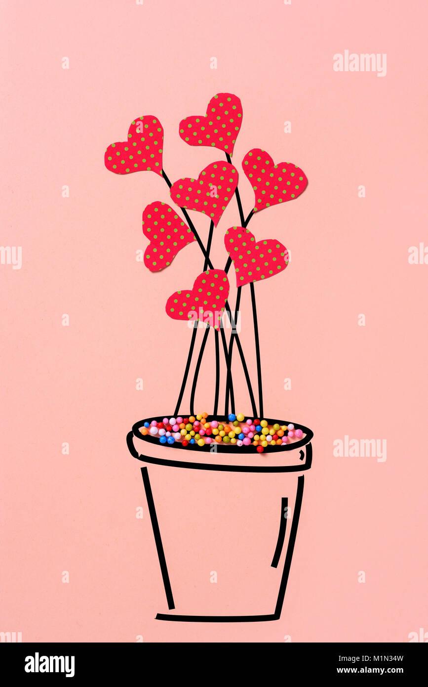 Un Dessin D Une Plante Dans Un Pot Avec Quelques Coeurs