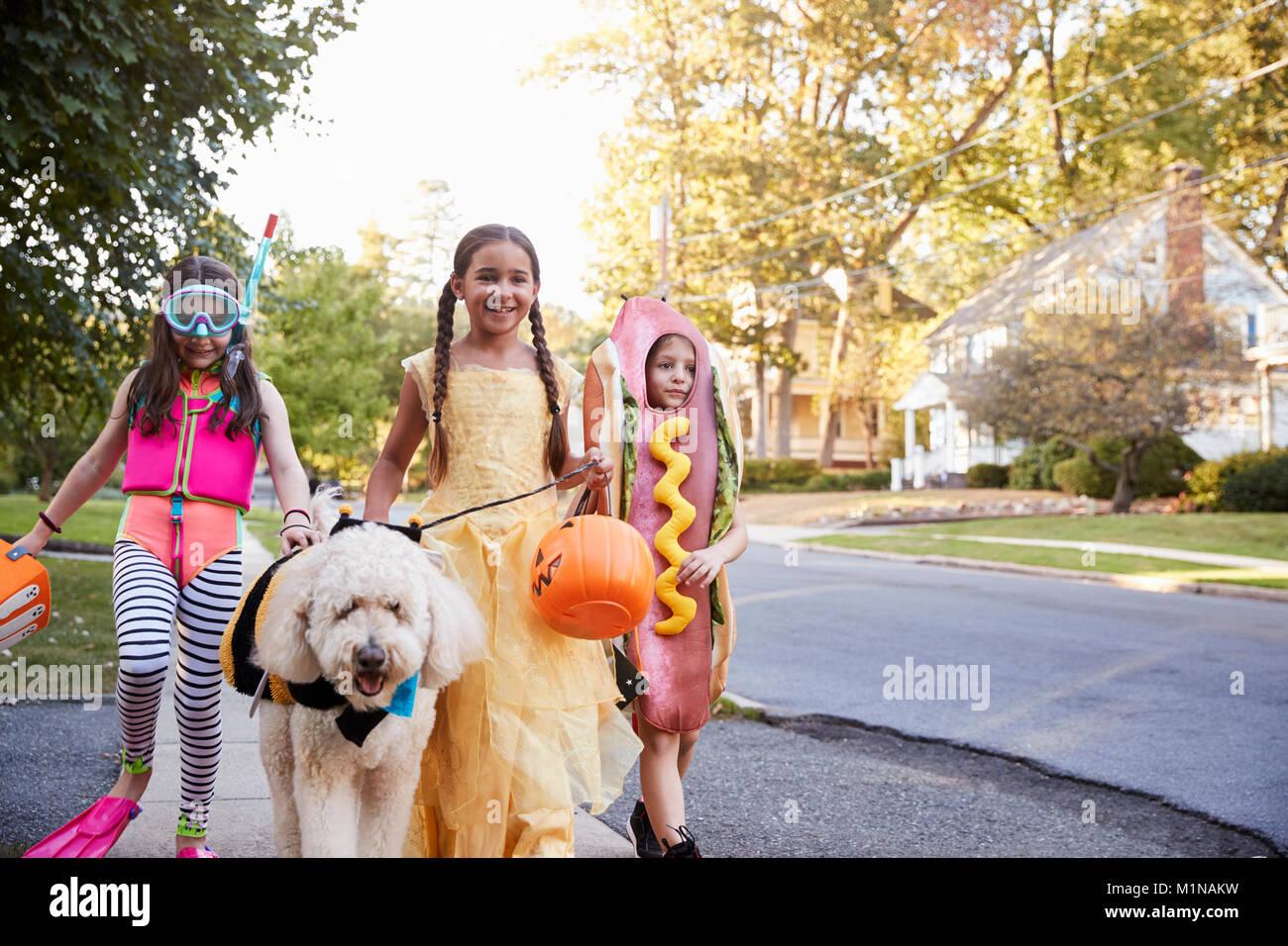 Les enfants et le chien dans des costumes pour Halloween Trick ou traiter Photo Stock
