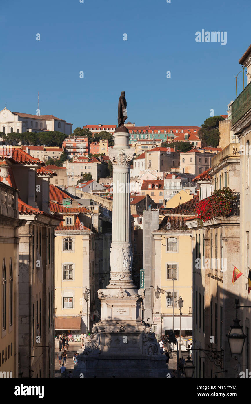 Rossio, Praça de Dom Pedro IV, la Baixa, Lisbonne, Portugal, Europe Photo Stock