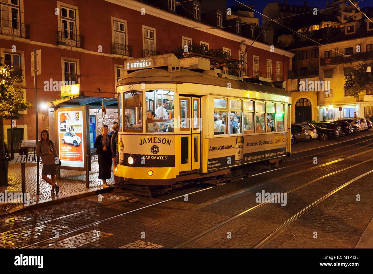 Le Tram 28, d'Alfama, Lisbonne, Portugal, Europe Photo Stock