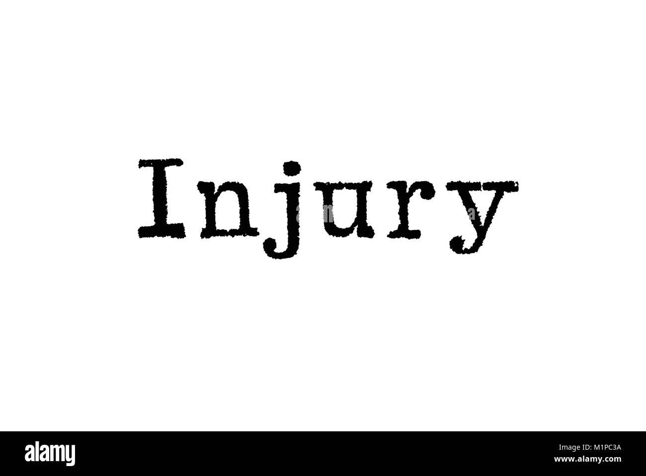 Le mot de blessures causées par une machine à écrire sur un fond blanc Banque D'Images