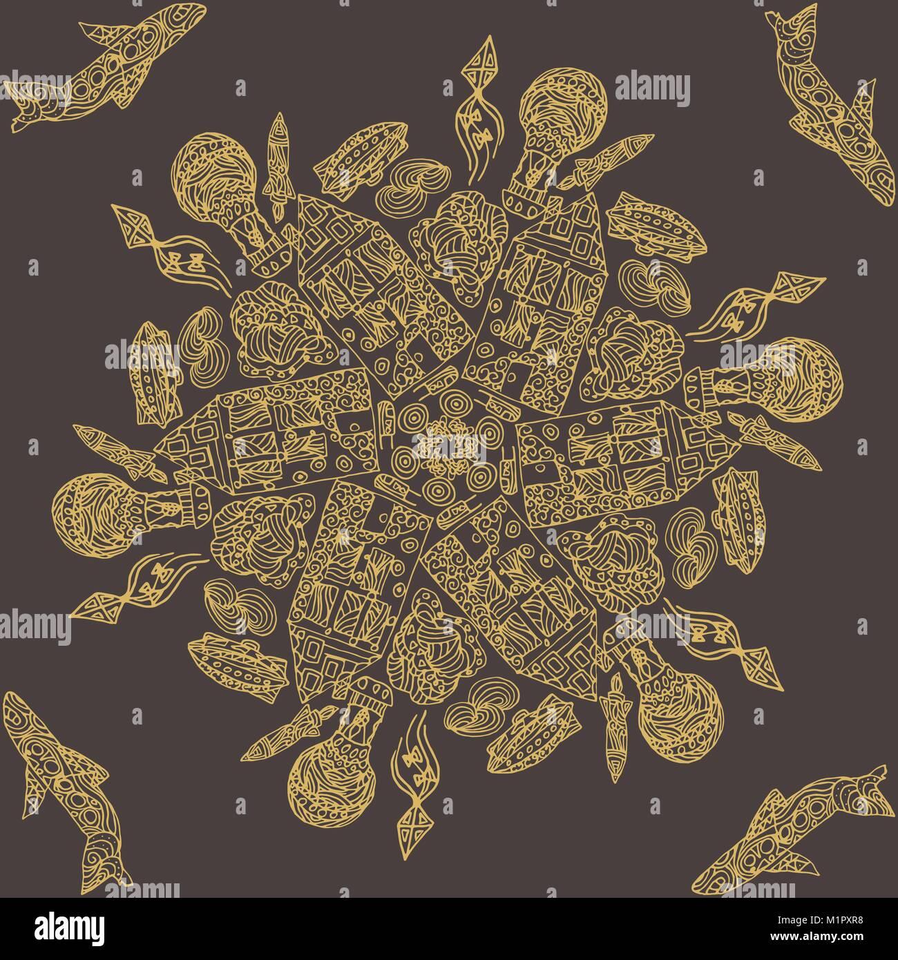 Motif dentelle ronde ornementaux, cercle historique avec de nombreux ...