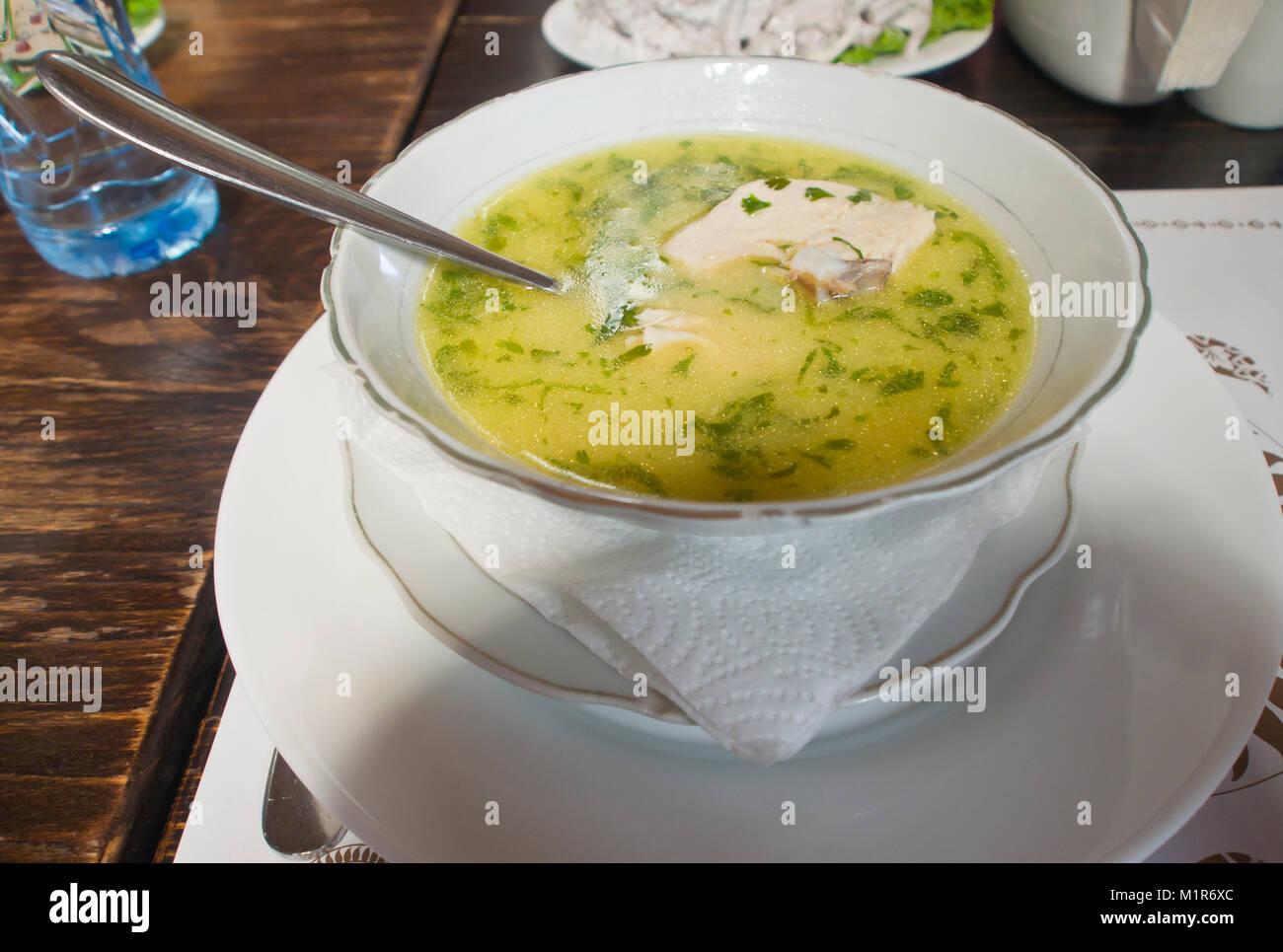 Bouillon riche avec de généreux morceaux de poulet, un Géorgien traditionnel (Caucase) soupe au début Photo Stock