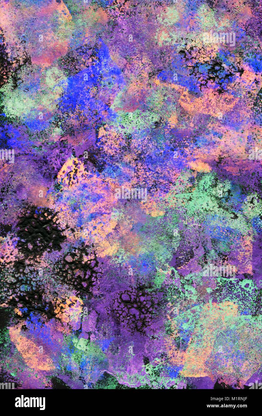 Noir, Violet et Vert daubs texturé de peinture acrylique, abstract ...