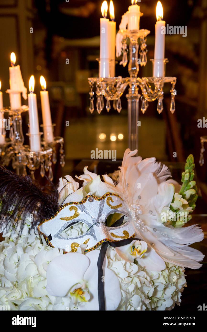 Décor inspiré de Venise lors d'une fête, Naples, Florida, USA Photo Stock