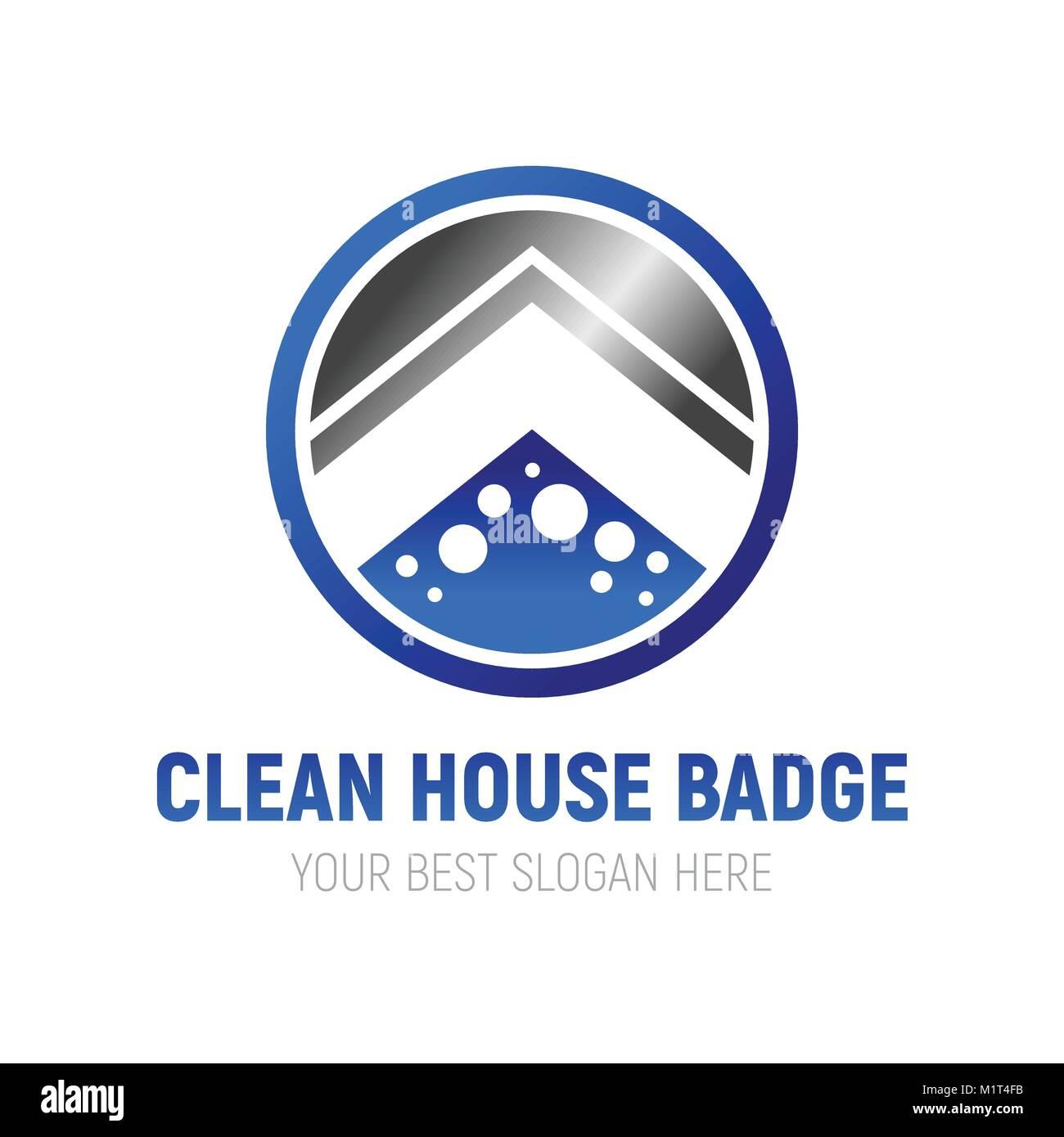 Nettoyer la maison Symbole Insigne Logo Design graphique de vecteur Photo Stock