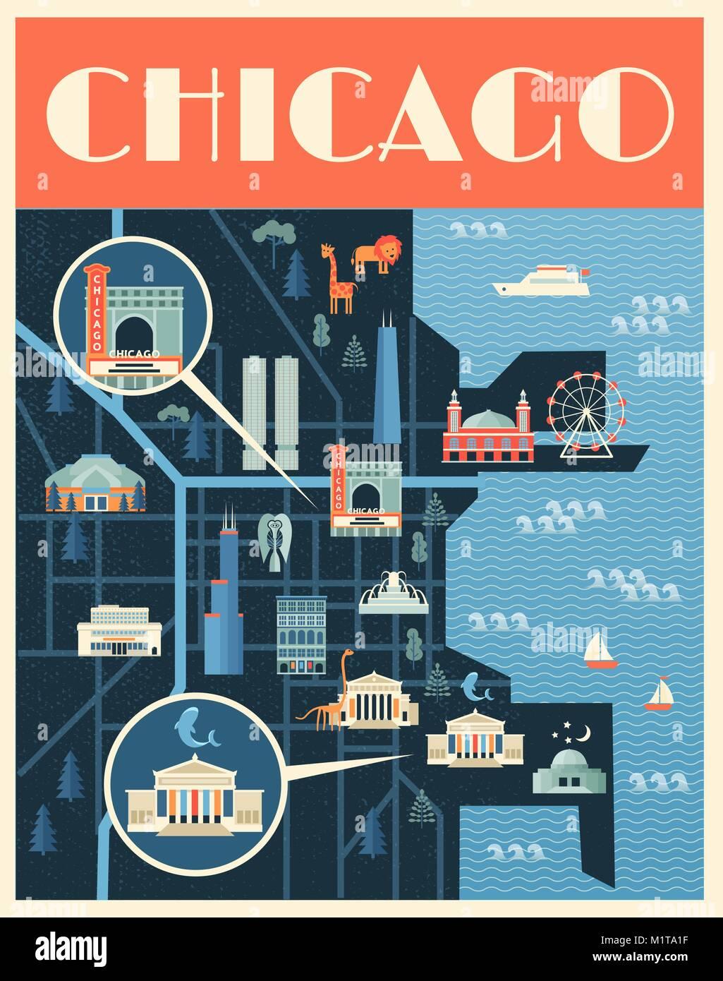 Vector Illustration De Laffiche La Carte Reperes Chicago Des Lieux Celebres Batiments Historiques Les Visites Touristiques Et Musees Connus