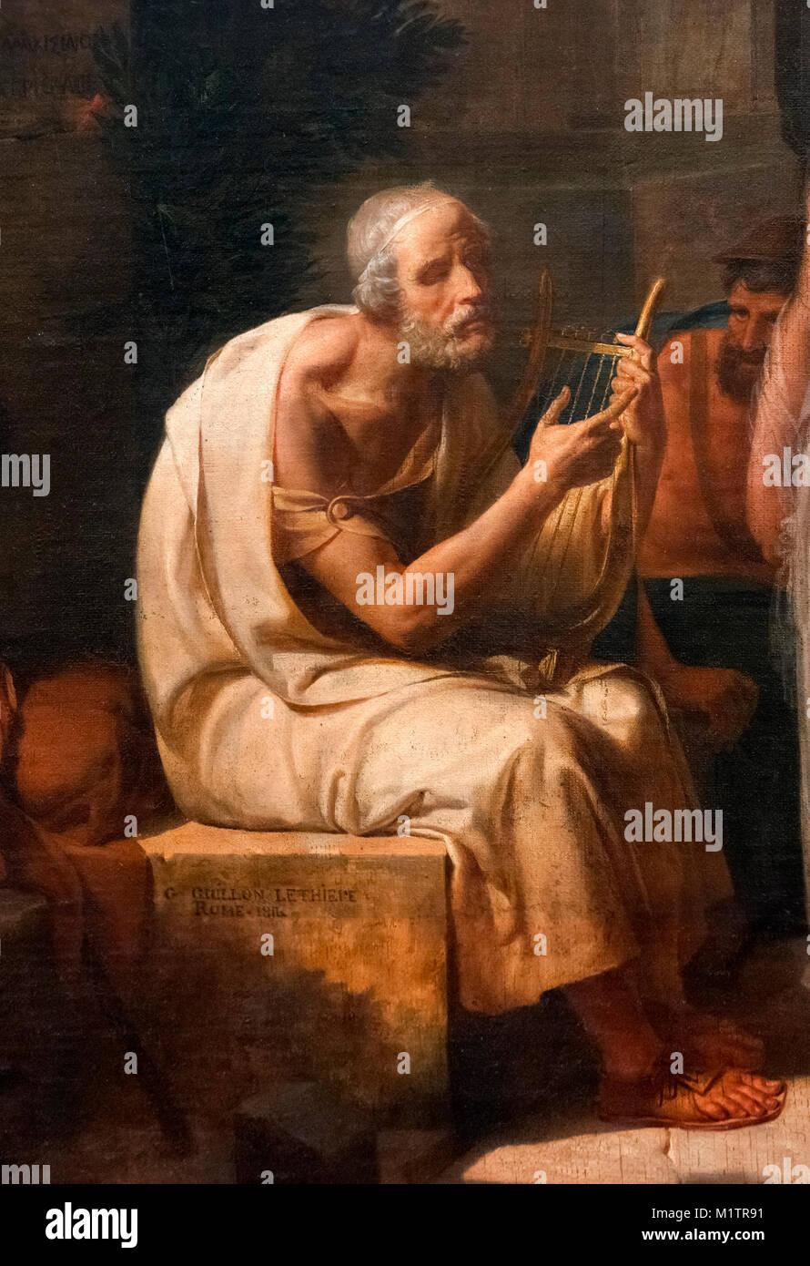 Son chant d'Homère Iliade à l'entrée d'Athènes par Guillaume Lethiere (1760-1832), Photo Stock