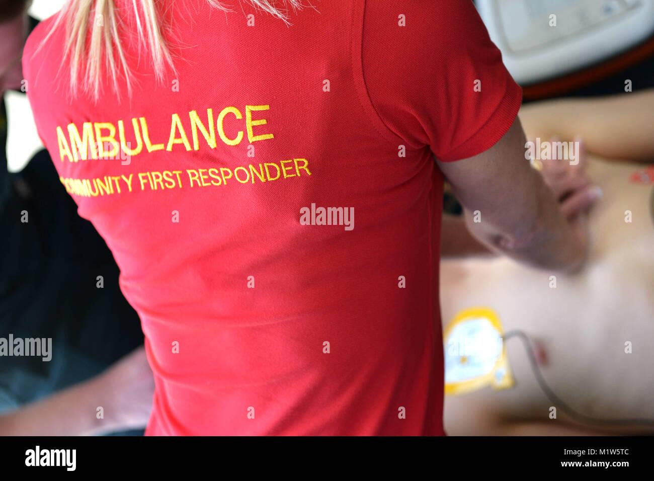 Premier intervenant de la communauté en action. Côte sud-est de l'Ambulance. Photo Stock